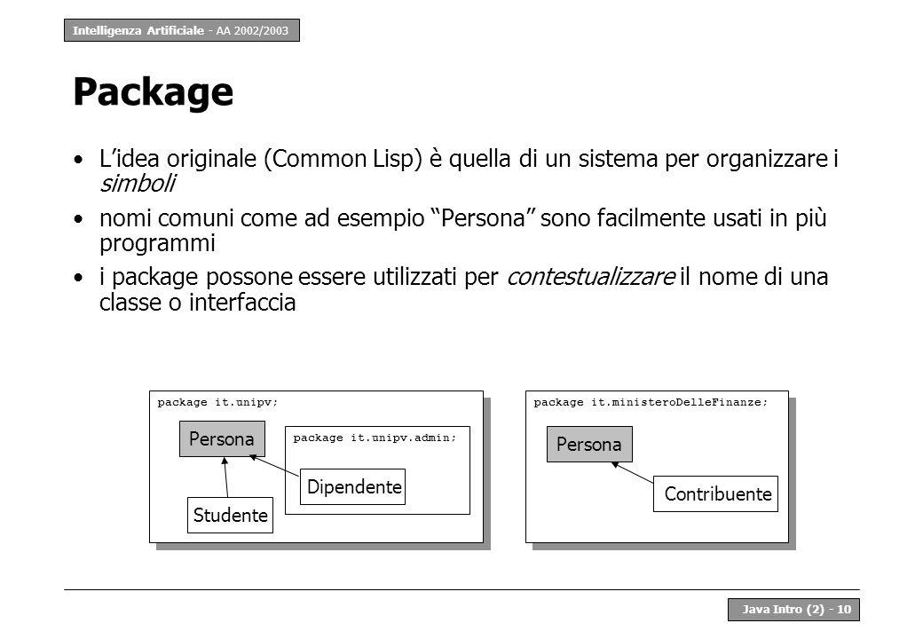 Intelligenza Artificiale - AA 2002/2003 Java Intro (2) - 10 Package Lidea originale (Common Lisp) è quella di un sistema per organizzare i simboli nom