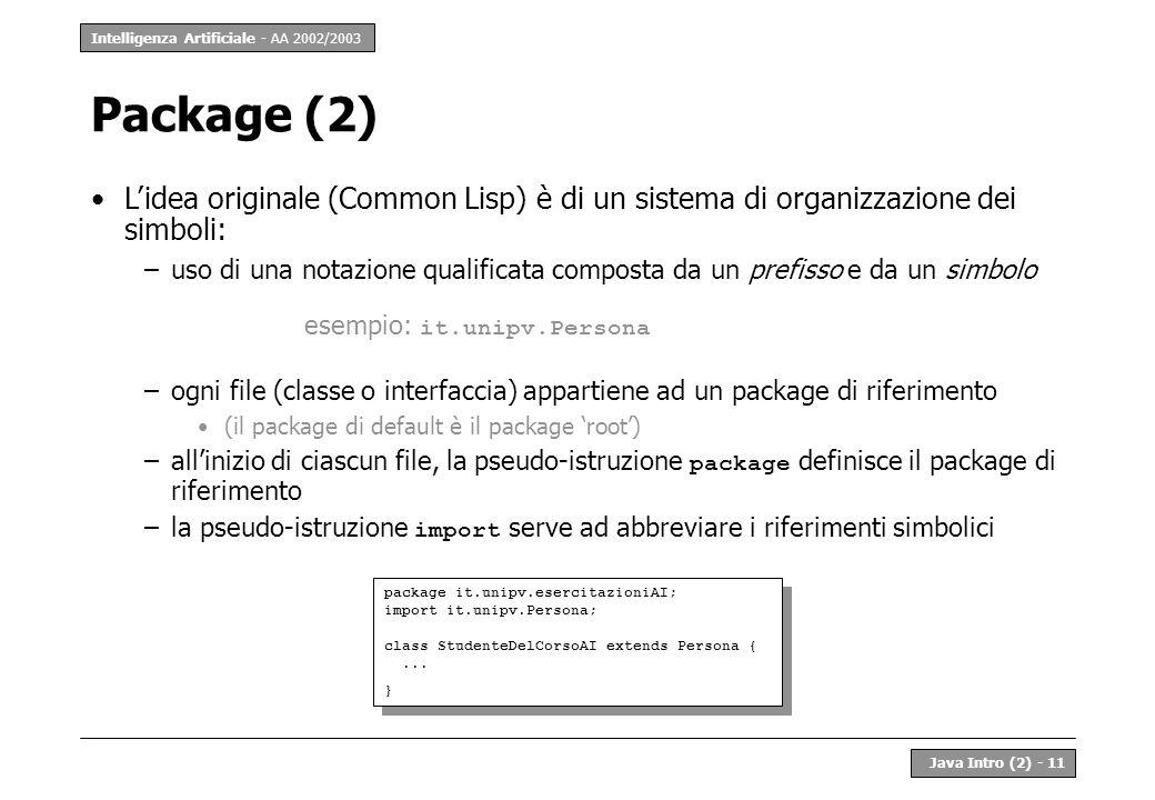 Intelligenza Artificiale - AA 2002/2003 Java Intro (2) - 11 Package (2) Lidea originale (Common Lisp) è di un sistema di organizzazione dei simboli: –