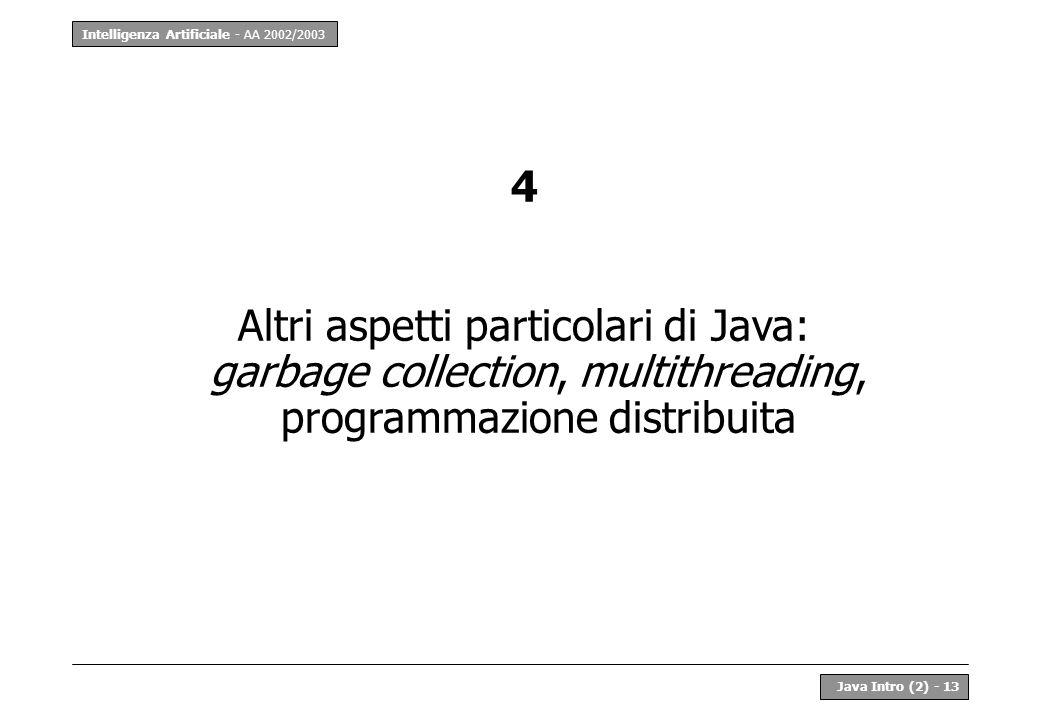 Intelligenza Artificiale - AA 2002/2003 Java Intro (2) - 13 4 Altri aspetti particolari di Java: garbage collection, multithreading, programmazione di