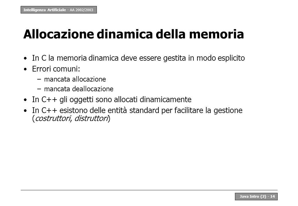 Intelligenza Artificiale - AA 2002/2003 Java Intro (2) - 14 Allocazione dinamica della memoria In C la memoria dinamica deve essere gestita in modo es