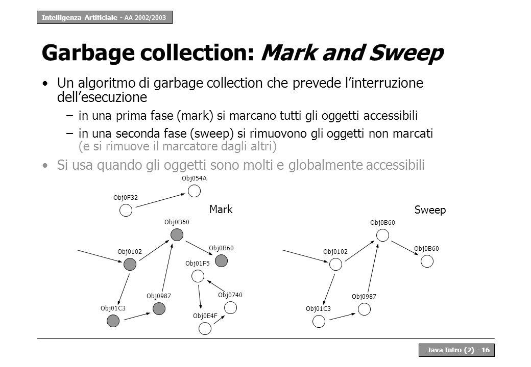 Intelligenza Artificiale - AA 2002/2003 Java Intro (2) - 16 Garbage collection: Mark and Sweep Un algoritmo di garbage collection che prevede linterru