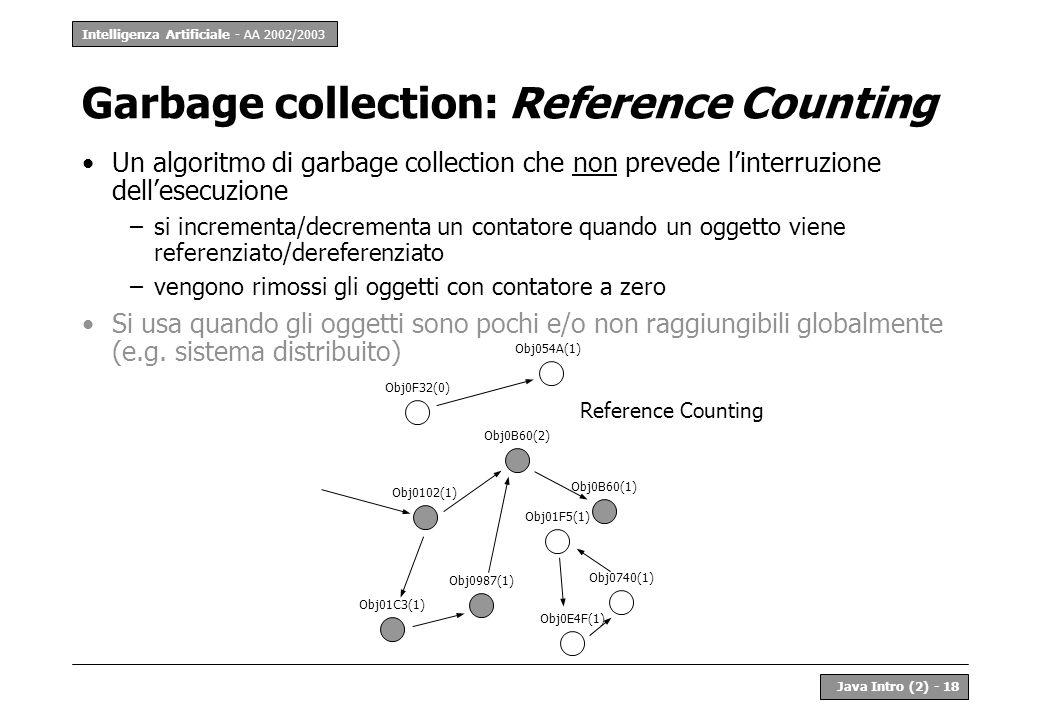 Intelligenza Artificiale - AA 2002/2003 Java Intro (2) - 18 Garbage collection: Reference Counting Un algoritmo di garbage collection che non prevede