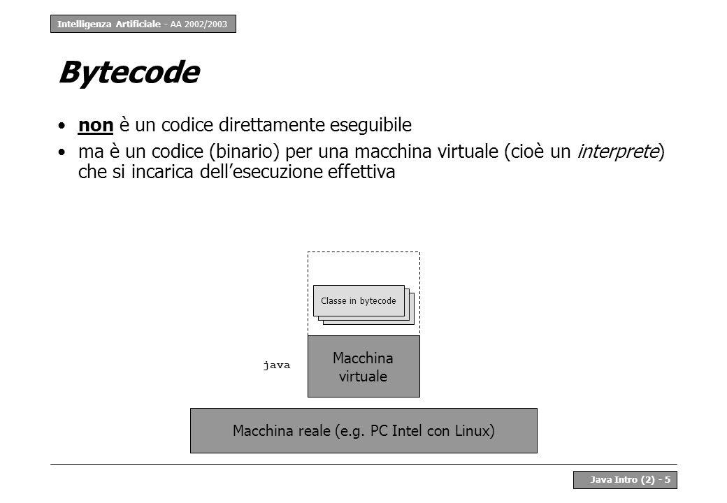 Intelligenza Artificiale - AA 2002/2003 Java Intro (2) - 5 Bytecode non è un codice direttamente eseguibile ma è un codice (binario) per una macchina