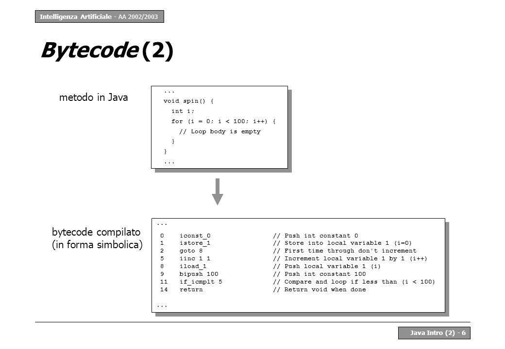 Intelligenza Artificiale - AA 2002/2003 Java Intro (2) - 7 Compilazione In Java la compilazione è: –parziale (ciascuna classe viene compilata separatamente) –con verifica (di correttezza sintattica e di tipo) Compilatore File Alfa.java javac Alfa.java Classe in bytecode class Alfa { String var1; void method1() {...