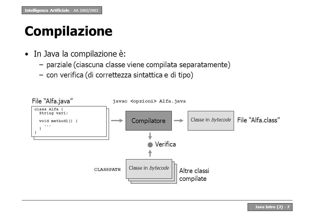 Intelligenza Artificiale - AA 2002/2003 Java Intro (2) - 8 Programma Un programma Java è un insieme di classi Generalmente tale insieme è chiuso, ma è potenzialmente aperto La composizione di questo insieme è stabilita dalla macchina virtuale a run-time Macchina virtuale java nomeClasse Classe in bytecode CLASSPATH ClassLoader Classe in bytecode CLASSPATH