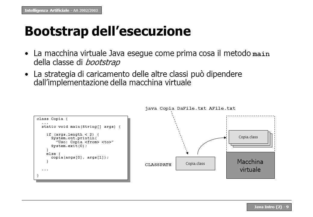 Intelligenza Artificiale - AA 2002/2003 Java Intro (2) - 9 Bootstrap dellesecuzione La macchina virtuale Java esegue come prima cosa il metodo main de