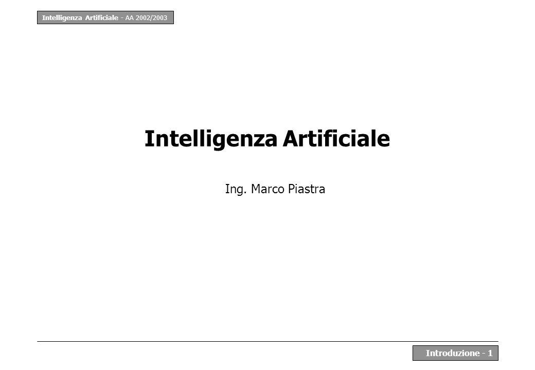 Intelligenza Artificiale - AA 2002/2003 Introduzione - 1 Intelligenza Artificiale Ing. Marco Piastra
