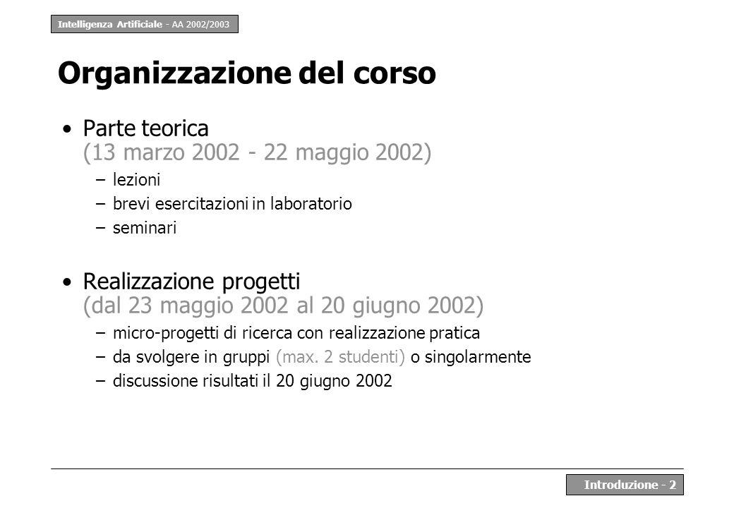 Intelligenza Artificiale - AA 2002/2003 Introduzione - 2 Organizzazione del corso Parte teorica (13 marzo 2002 - 22 maggio 2002) –lezioni –brevi eserc