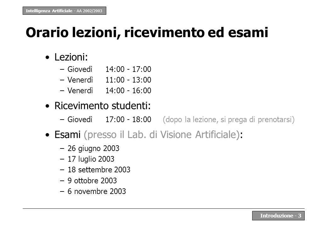 Intelligenza Artificiale - AA 2002/2003 Introduzione - 3 Orario lezioni, ricevimento ed esami Lezioni: –Giovedì 14:00 - 17:00 –Venerdì 11:00 - 13:00 –