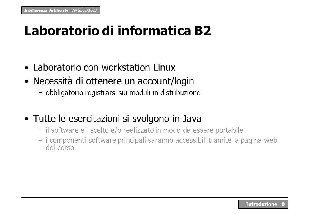 Intelligenza Artificiale - AA 2002/2003 Introduzione - 8 Laboratorio di informatica B2 Laboratorio con workstation Linux Necessità di ottenere un acco