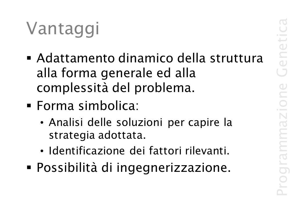 Programmazione Genetica Vantaggi Adattamento dinamico della struttura alla forma generale ed alla complessità del problema. Forma simbolica: Analisi d