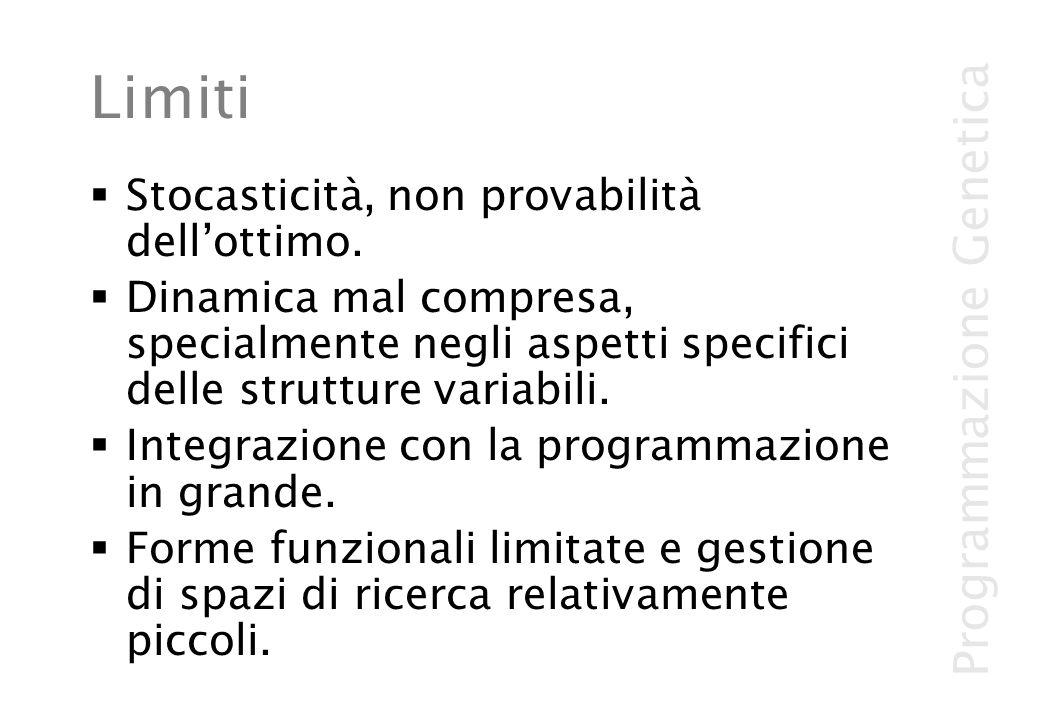 Programmazione Genetica Limiti Stocasticità, non provabilità dellottimo. Dinamica mal compresa, specialmente negli aspetti specifici delle strutture v
