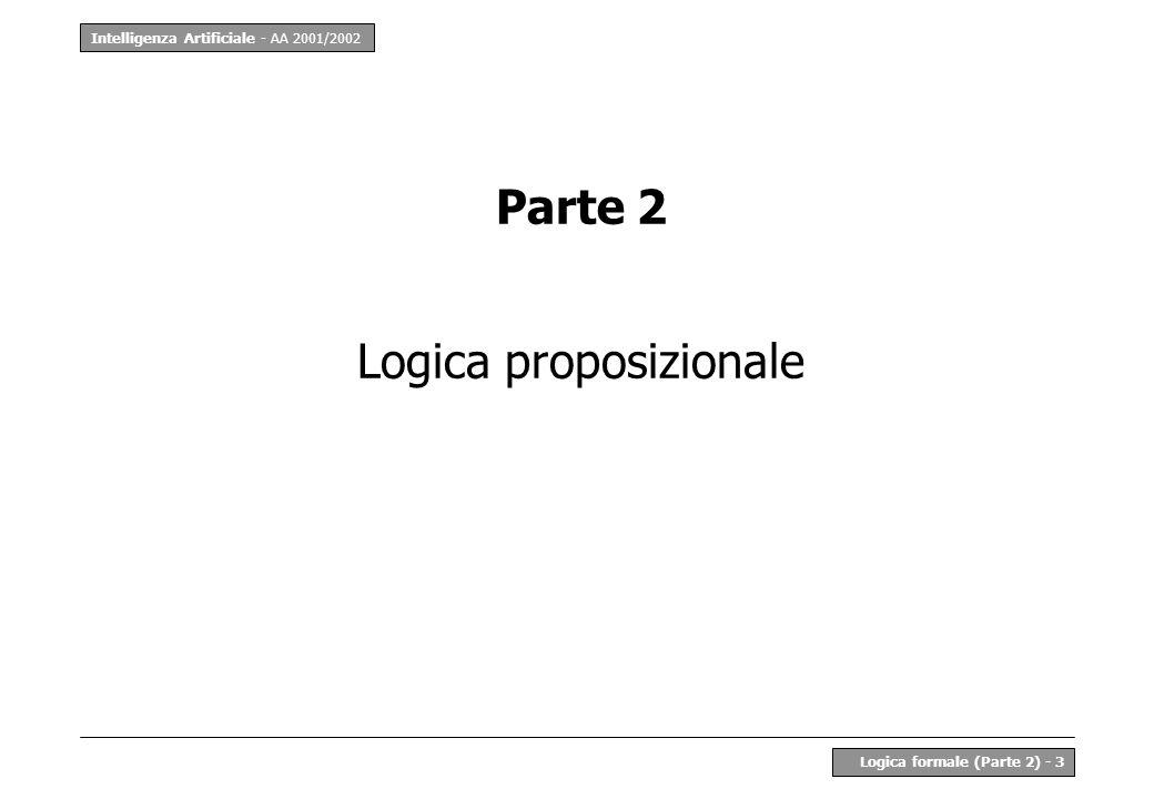 Intelligenza Artificiale - AA 2001/2002 Logica formale (Parte 2) - 14 LP - Decidibilità Un sistema logico è detto decidibile se esiste un algoritmo di validità generale per stabilire se La logica proposizionale è senzaltro decidibile –alla peggio, si provano tutte le 2 n possibili interpretazioni per stabilire se Il procedimento di derivazione non è un algoritmo deterministico –ad ogni passo occorre scegliere la mossa giusta –si tratta di una tecnica per la prova manuale