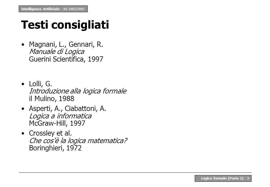 Intelligenza Artificiale - AA 2002/2003 Logica formale (Parte 1) - 3 Testi consigliati Magnani, L., Gennari, R. Manuale di Logica Guerini Scientifica,