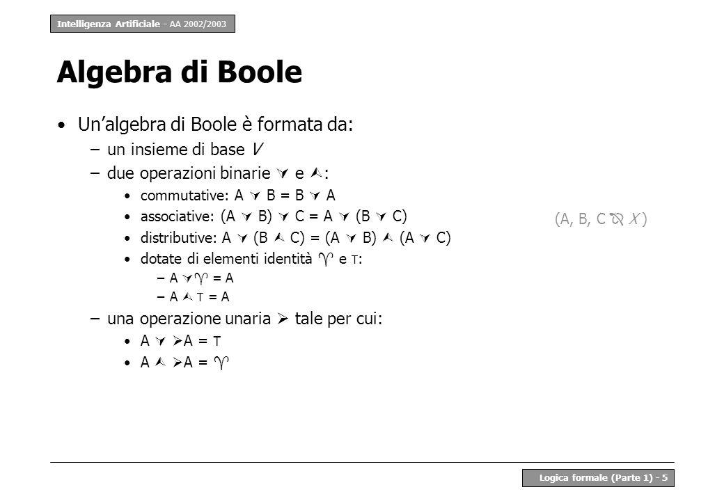 Intelligenza Artificiale - AA 2002/2003 Logica formale (Parte 1) - 5 Unalgebra di Boole è formata da: –un insieme di base V –due operazioni binarie e