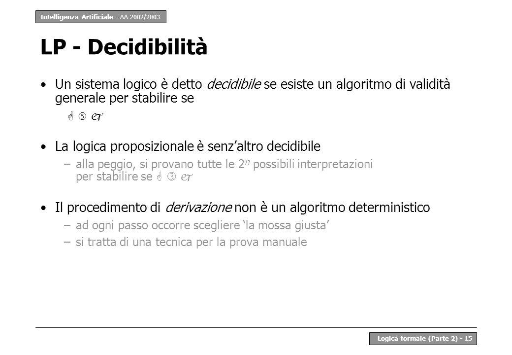 Intelligenza Artificiale - AA 2002/2003 Logica formale (Parte 2) - 15 LP - Decidibilità Un sistema logico è detto decidibile se esiste un algoritmo di validità generale per stabilire se La logica proposizionale è senzaltro decidibile –alla peggio, si provano tutte le 2 n possibili interpretazioni per stabilire se Il procedimento di derivazione non è un algoritmo deterministico –ad ogni passo occorre scegliere la mossa giusta –si tratta di una tecnica per la prova manuale