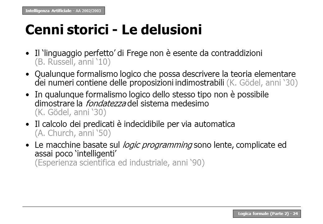 Intelligenza Artificiale - AA 2002/2003 Logica formale (Parte 2) - 24 Cenni storici - Le delusioni Il linguaggio perfetto di Frege non è esente da contraddizioni (B.