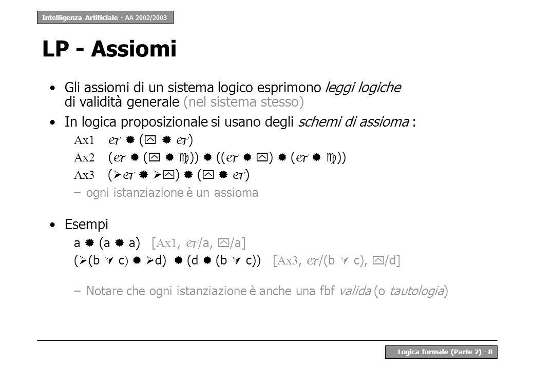 Intelligenza Artificiale - AA 2002/2003 Logica formale (Parte 2) - 8 LP - Assiomi Gli assiomi di un sistema logico esprimono leggi logiche di validità generale (nel sistema stesso) In logica proposizionale si usano degli schemi di assioma : Ax1 ( ) Ax2 ( ( )) (( ) ( )) Ax3 ( ) ( ) –ogni istanziazione è un assioma Esempi a (a a) [ Ax1, /a, /a] ( (b c ) d) (d (b c)) [ Ax3, /(b c), /d] –Notare che ogni istanziazione è anche una fbf valida (o tautologia)