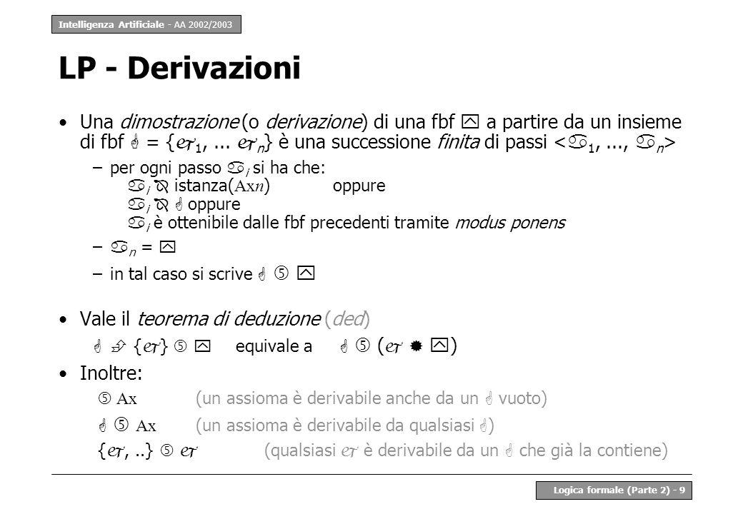 Intelligenza Artificiale - AA 2002/2003 Logica formale (Parte 2) - 9 LP - Derivazioni Una dimostrazione (o derivazione) di una fbf a partire da un insieme di fbf = { 1,...