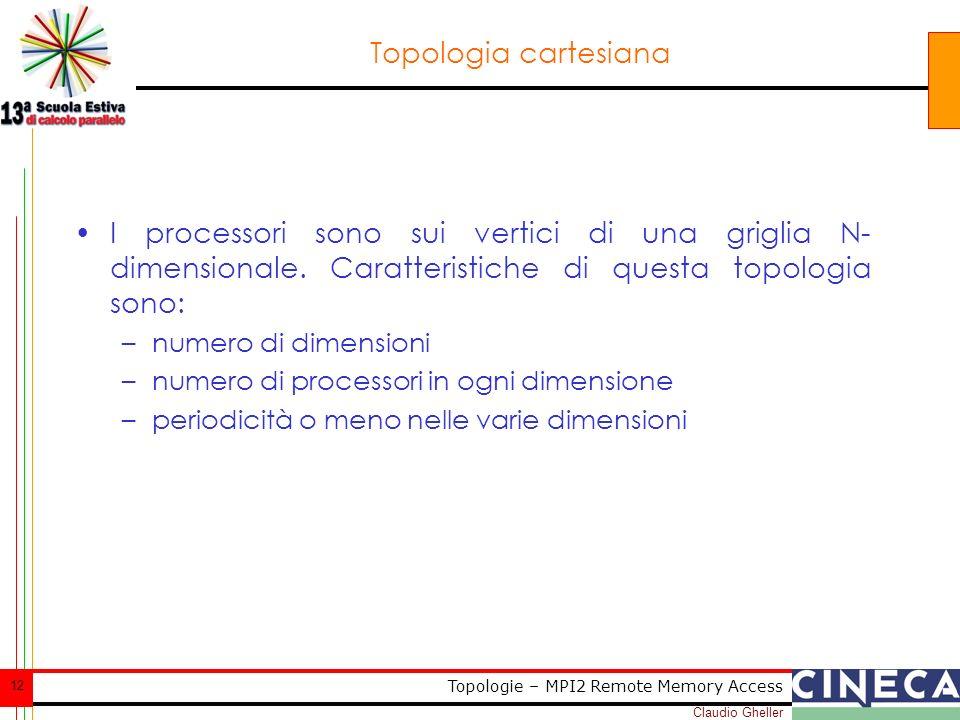 Claudio Gheller 12 Topologie – MPI2 Remote Memory Access Topologia cartesiana I processori sono sui vertici di una griglia N- dimensionale.
