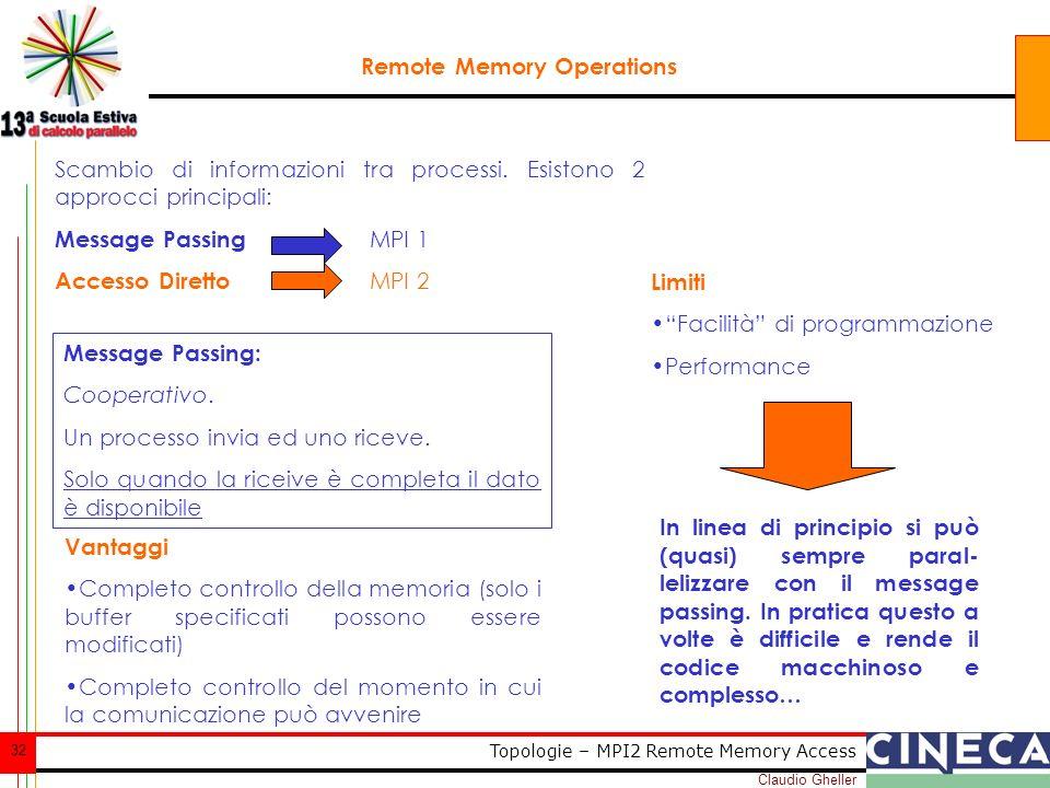 Claudio Gheller 32 Topologie – MPI2 Remote Memory Access Remote Memory Operations Scambio di informazioni tra processi. Esistono 2 approcci principali