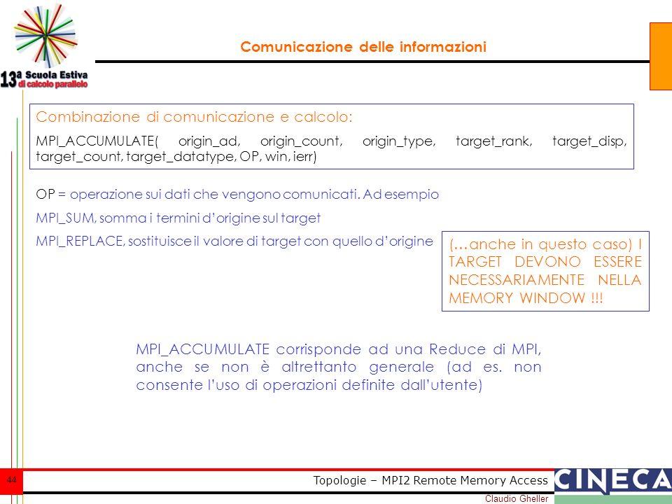 Claudio Gheller 44 Topologie – MPI2 Remote Memory Access Comunicazione delle informazioni Combinazione di comunicazione e calcolo: MPI_ACCUMULATE( origin_ad, origin_count, origin_type, target_rank, target_disp, target_count, target_datatype, OP, win, ierr) OP = operazione sui dati che vengono comunicati.