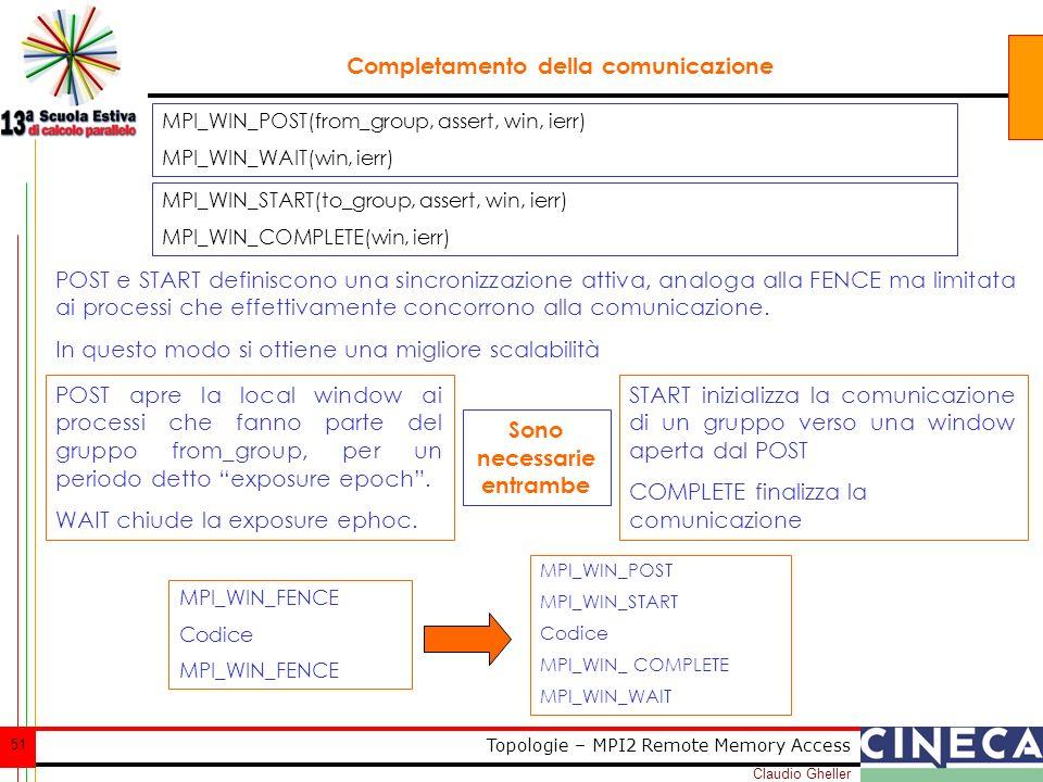Claudio Gheller 51 Topologie – MPI2 Remote Memory Access Completamento della comunicazione POST e START definiscono una sincronizzazione attiva, analoga alla FENCE ma limitata ai processi che effettivamente concorrono alla comunicazione.