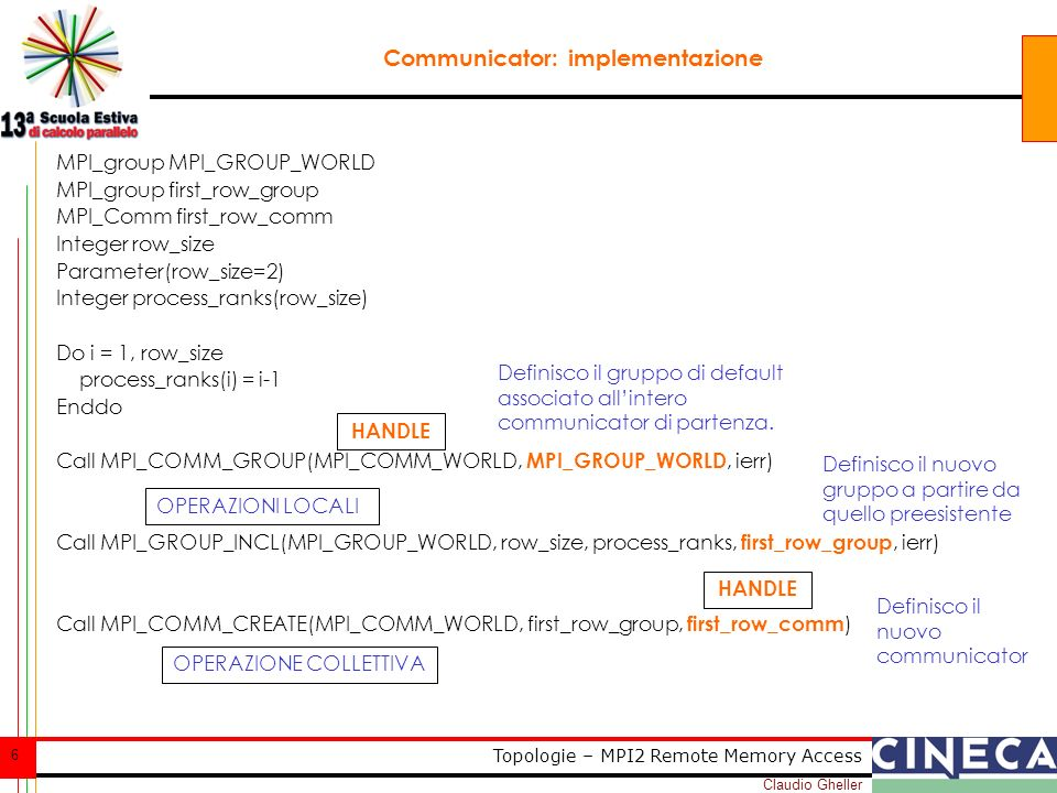 Claudio Gheller 57 Topologie – MPI2 Remote Memory Access Case Study: contatore parallelo, soluzione 1 call MPI_WIN_LOCK( MPI_LOCK_EXCLUSIVE, 0, 0, win, ierr) call MPI_GET(ix,1,MPI_INTEGER, 0,0,1,MPI_INTEGER,win,ierr) call MPI_ACCUMULATE(1,1,MPI_INTEGER,0,0,1,MPI_INTEGER,MPI_SUM,win,ierr) call MPI_WIN_UNLOCK(0, win, ierr) NON FUNZIONA!!.