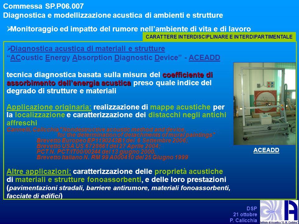 DSP 21 ottobre P. Calicchia Monitoraggio ed impatto del rumore nellambiente di vita e di lavoro Commessa SP.P06.007 Diagnostica e modellizzazione acus