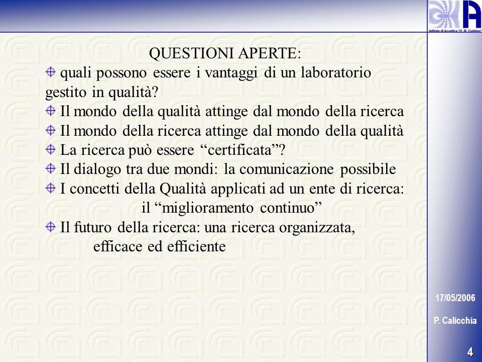 4 17/05/2006 P. Calicchia QUESTIONI APERTE: quali possono essere i vantaggi di un laboratorio gestito in qualità? Il mondo della qualità attinge dal m