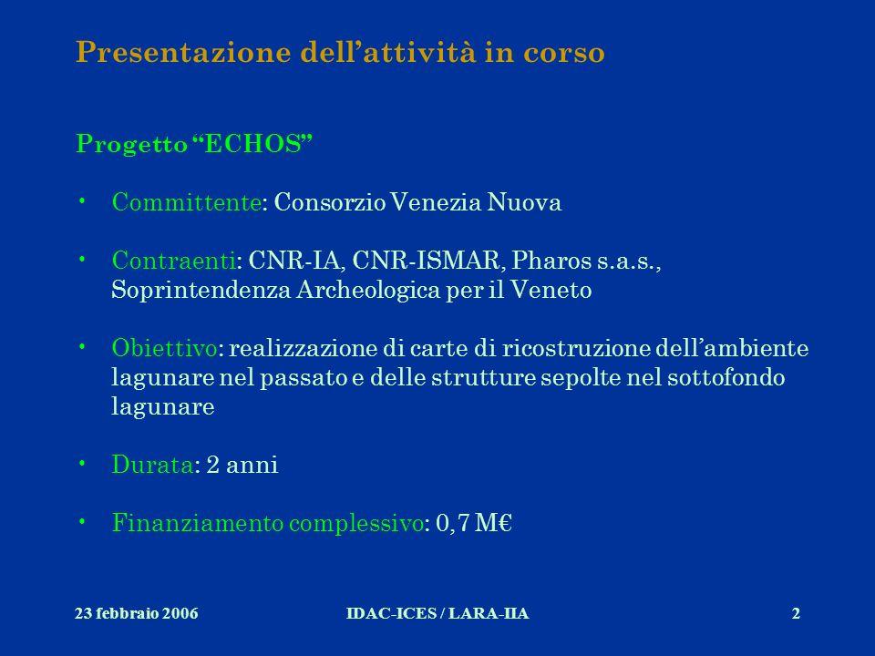 23 febbraio 2006IDAC-ICES / LARA-IIA2 Presentazione dellattività in corso Progetto ECHOS Committente: Consorzio Venezia Nuova Contraenti: CNR-IA, CNR-