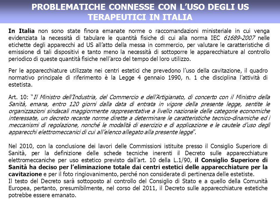 PROBLEMATICHE CONNESSE CON LUSO DEGLI US TERAPEUTICI IN ITALIA In Italia non sono state finora emanate norme o raccomandazioni ministeriale in cui venga evidenziata la necessità di tabulare le quantità fisiche di cui alla norma IEC 61689-2007 nelle etichette degli apparecchi ad US allatto della messa in commercio, per valutare le caratteristiche di emissione di tali dispositivi e tanto meno la necessità di sottoporre le apparecchiature al controllo periodico di queste quantità fisiche nellarco del tempo del loro utilizzo.