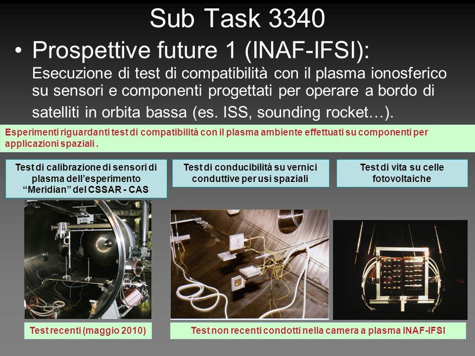 Sub Task 3340 Prospettive future 1 (INAF-IFSI): Esecuzione di test di compatibilità con il plasma ionosferico su sensori e componenti progettati per operare a bordo di satelliti in orbita bassa (es.