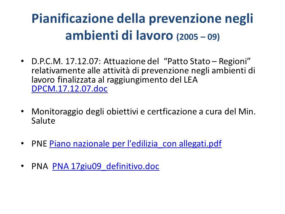 Pianificazione della prevenzione negli ambienti di lavoro (2005 – 09) D.P.C.M. 17.12.07: Attuazione del Patto Stato – Regioni relativamente alle attiv