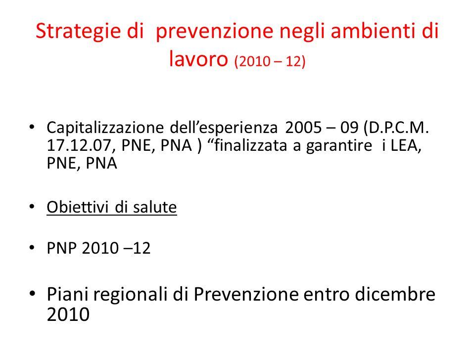 Strategie di prevenzione negli ambienti di lavoro (2010 – 12) Capitalizzazione dellesperienza 2005 – 09 (D.P.C.M. 17.12.07, PNE, PNA ) finalizzata a g