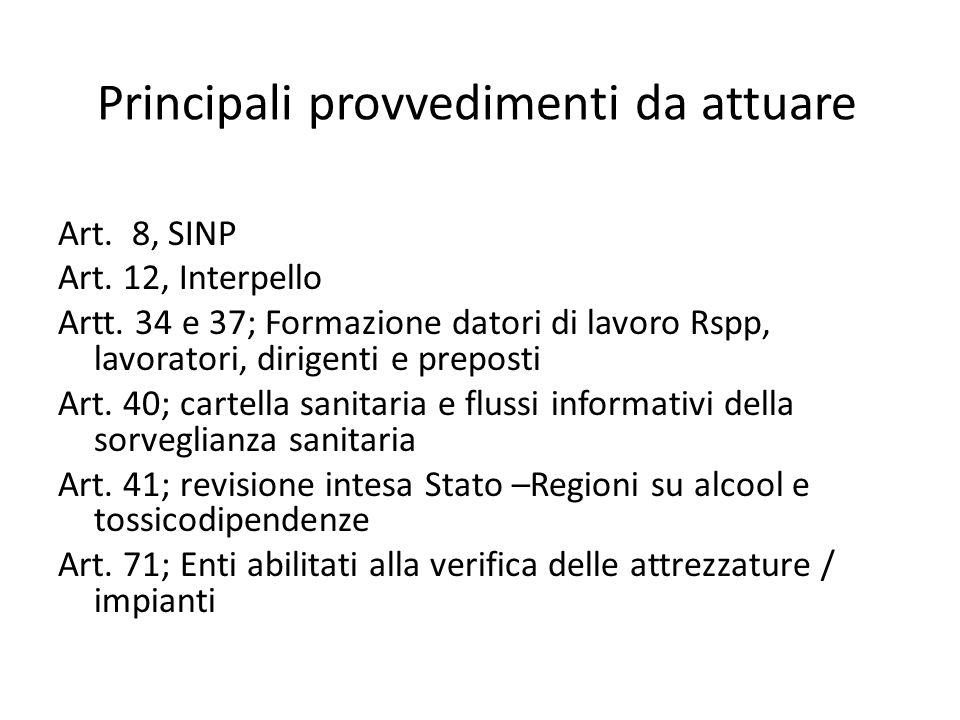 Principali provvedimenti da attuare Art. 8, SINP Art. 12, Interpello Artt. 34 e 37; Formazione datori di lavoro Rspp, lavoratori, dirigenti e preposti