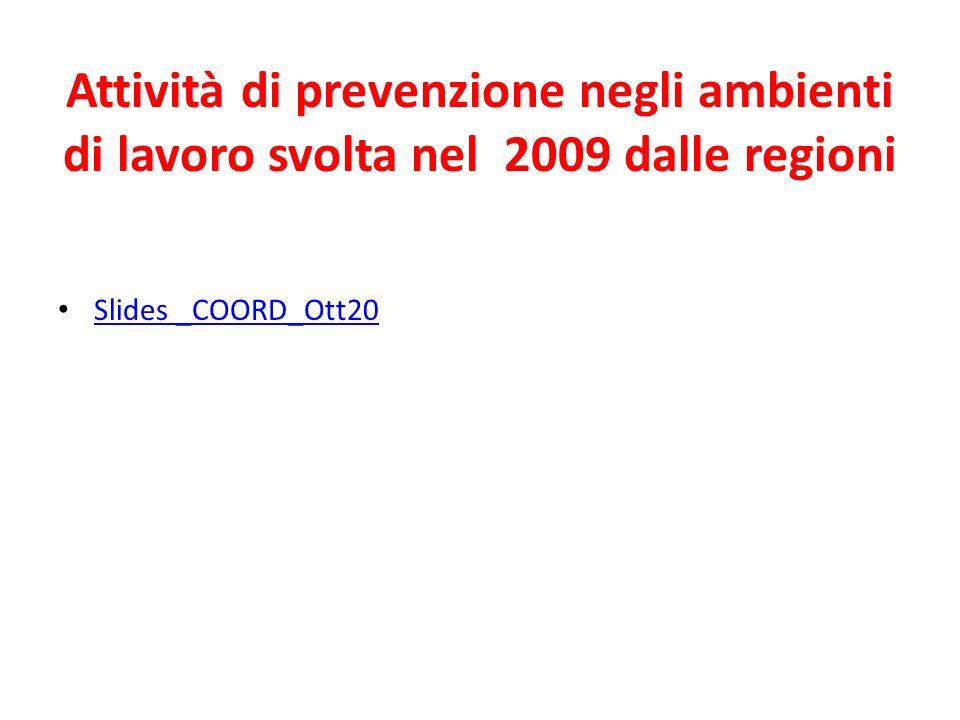 Attività di prevenzione negli ambienti di lavoro svolta nel 2009 dalle regioni Slides _COORD_Ott20