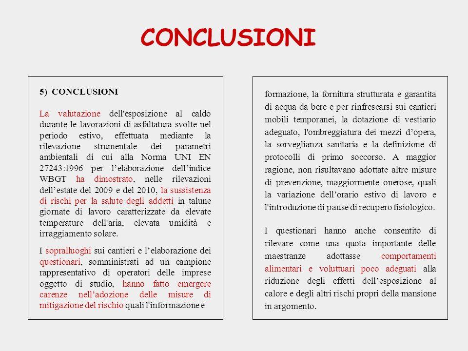 CONCLUSIONI 5) CONCLUSIONI La valutazione dell'esposizione al caldo durante le lavorazioni di asfaltatura svolte nel periodo estivo, effettuata median