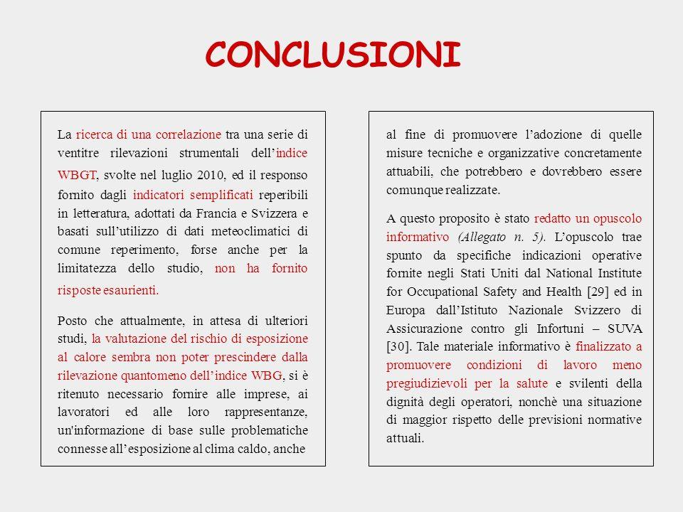 CONCLUSIONI La ricerca di una correlazione tra una serie di ventitre rilevazioni strumentali dellindice WBGT, svolte nel luglio 2010, ed il responso f