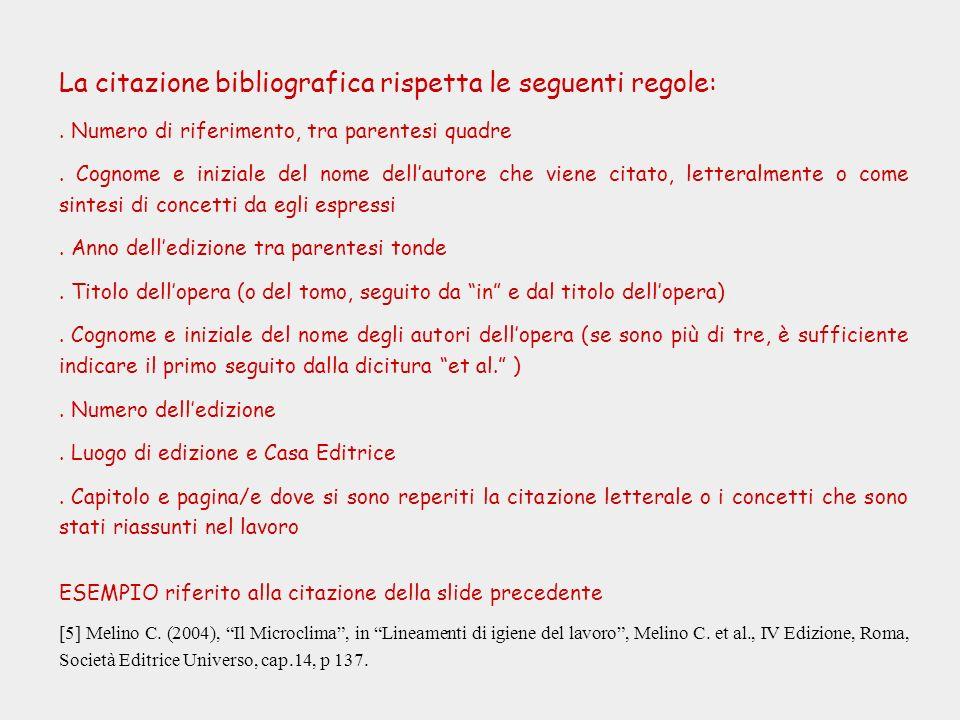 La citazione bibliografica rispetta le seguenti regole:. Numero di riferimento, tra parentesi quadre. Cognome e iniziale del nome dellautore che viene