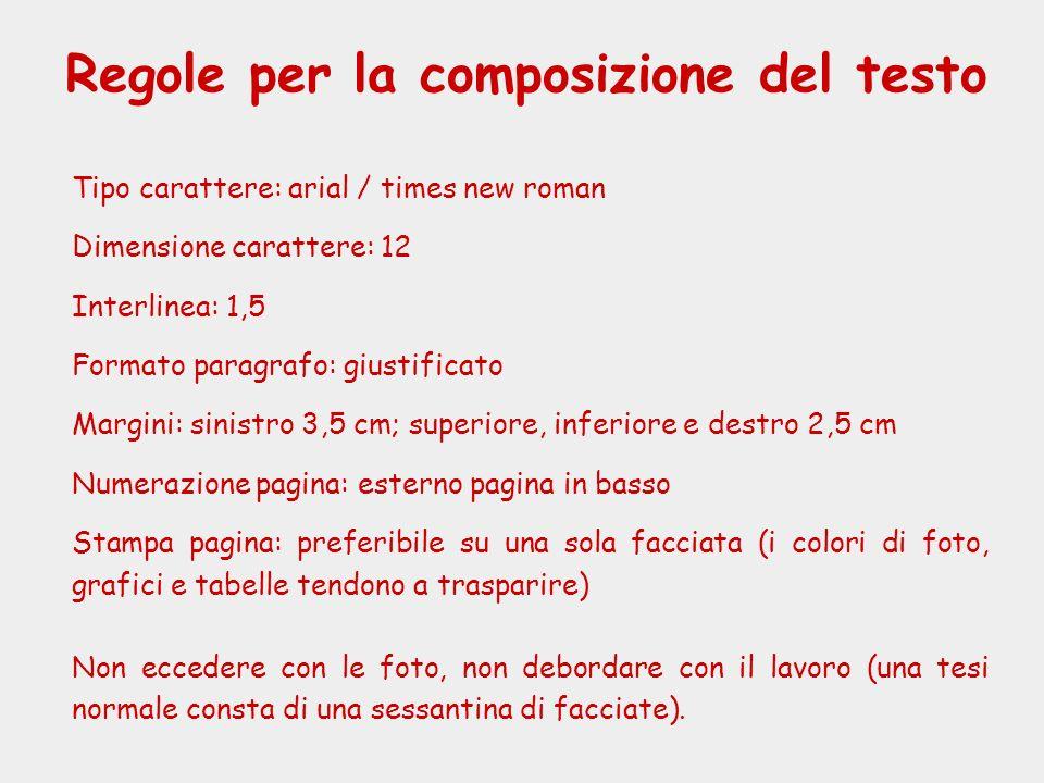 Regole per la composizione del testo Tipo carattere: arial / times new roman Dimensione carattere: 12 Interlinea: 1,5 Formato paragrafo: giustificato