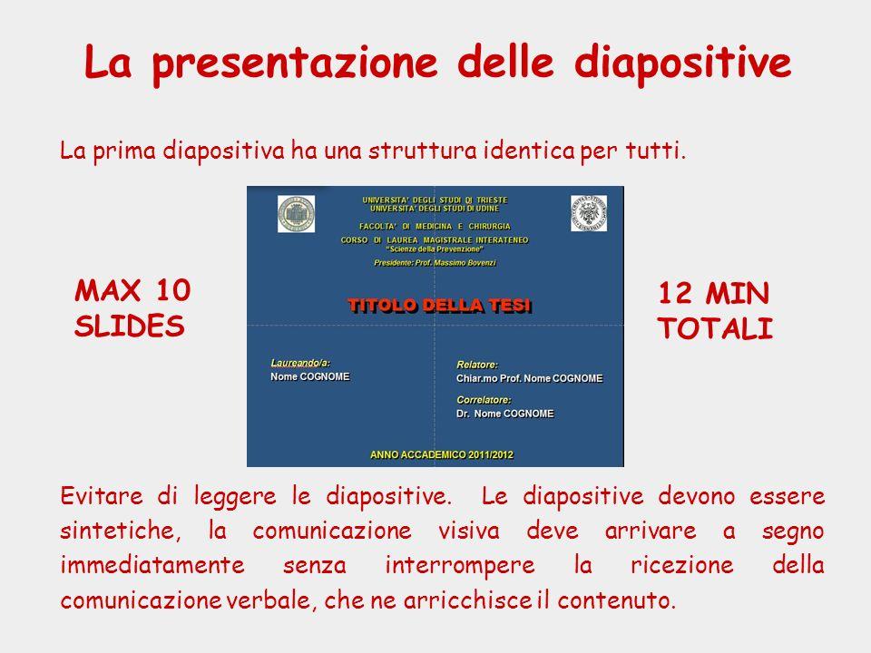 La presentazione delle diapositive La prima diapositiva ha una struttura identica per tutti. Evitare di leggere le diapositive. Le diapositive devono