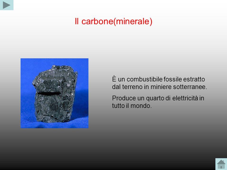 Il carbone(minerale) È un combustibile fossile estratto dal terreno in miniere sotterranee. Produce un quarto di elettricità in tutto il mondo.