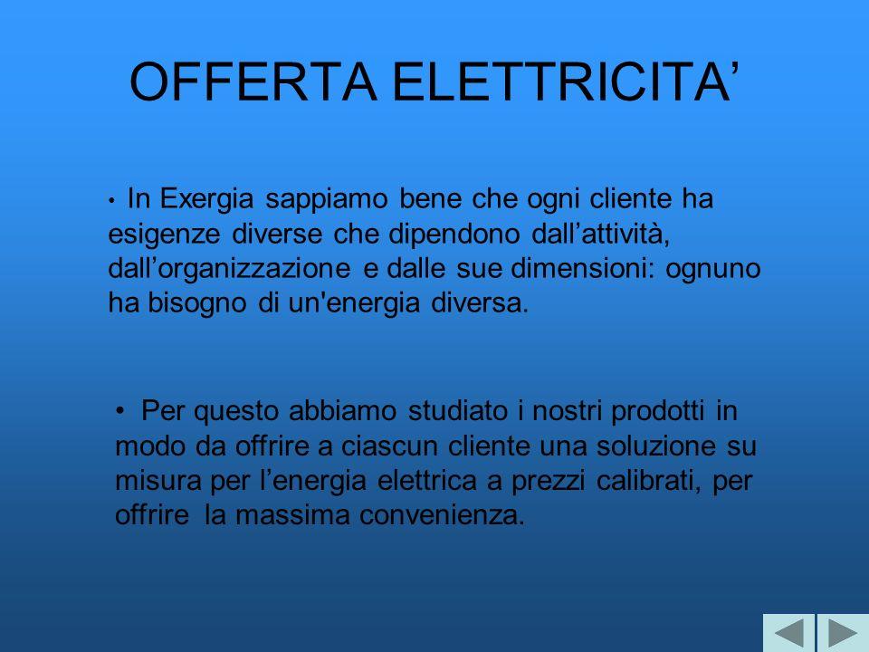 OFFERTA ELETTRICITA In Exergia sappiamo bene che ogni cliente ha esigenze diverse che dipendono dallattività, dallorganizzazione e dalle sue dimension