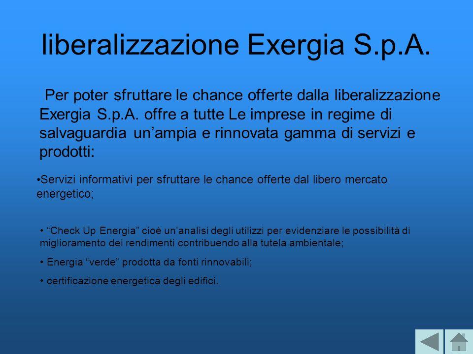 liberalizzazione Exergia S.p.A. Per poter sfruttare le chance offerte dalla liberalizzazione Exergia S.p.A. offre a tutte Le imprese in regime di salv
