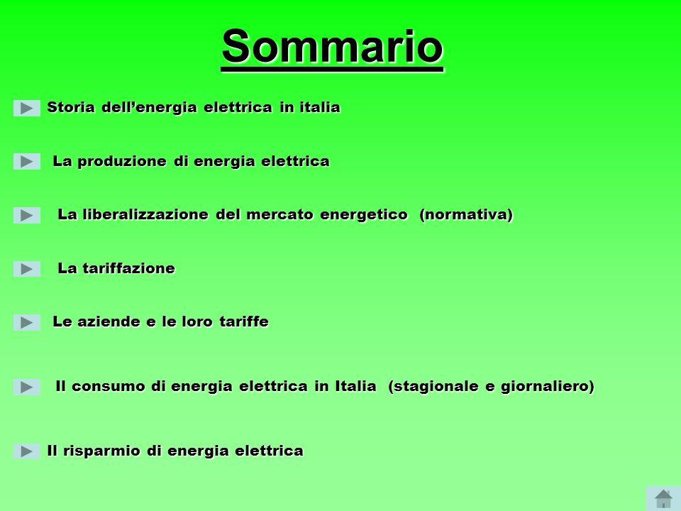 Storia dellenergia elettrica in italia La produzione di energia elettrica La liberalizzazione del mercato energetico (normativa) Le aziende e le loro