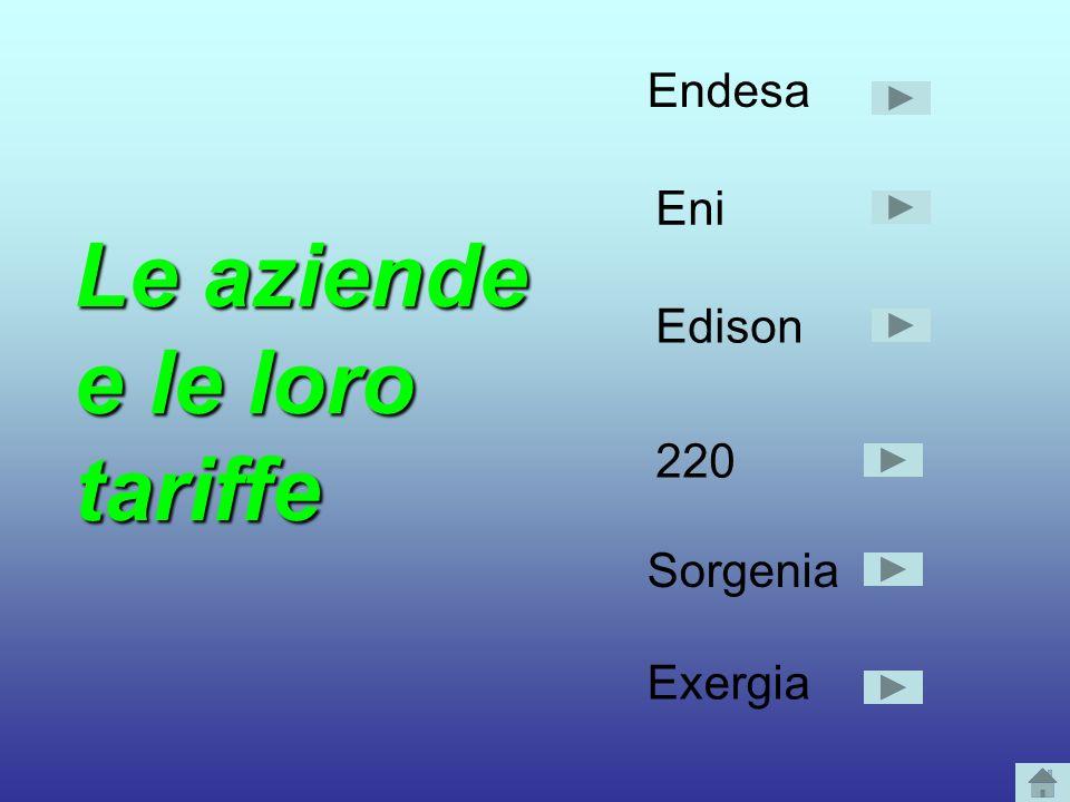 Le aziende e le loro tariffe Endesa Eni Edison 220 Sorgenia Exergia