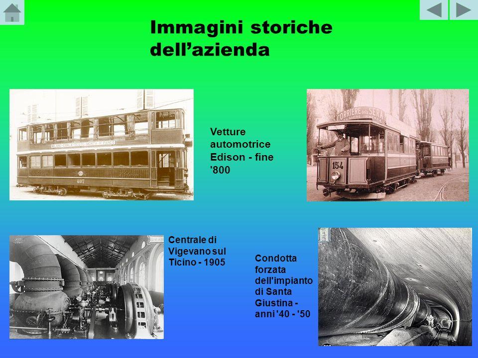 Immagini storiche dellazienda Vetture automotrice Edison - fine '800 Centrale di Vigevano sul Ticino - 1905 Condotta forzata dell'impianto di Santa Gi