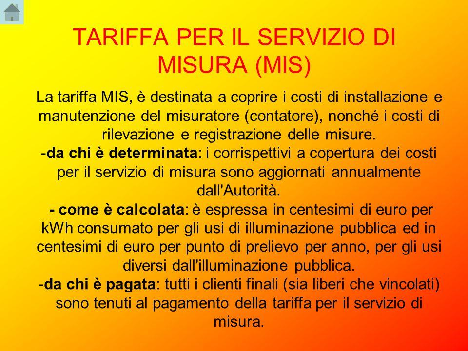 TARIFFA PER IL SERVIZIO DI MISURA (MIS) La tariffa MIS, è destinata a coprire i costi di installazione e manutenzione del misuratore (contatore), nonc