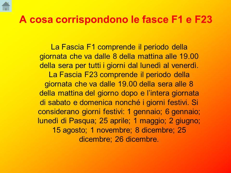 A cosa corrispondono le fasce F1 e F23 La Fascia F1 comprende il periodo della giornata che va dalle 8 della mattina alle 19.00 della sera per tutti i